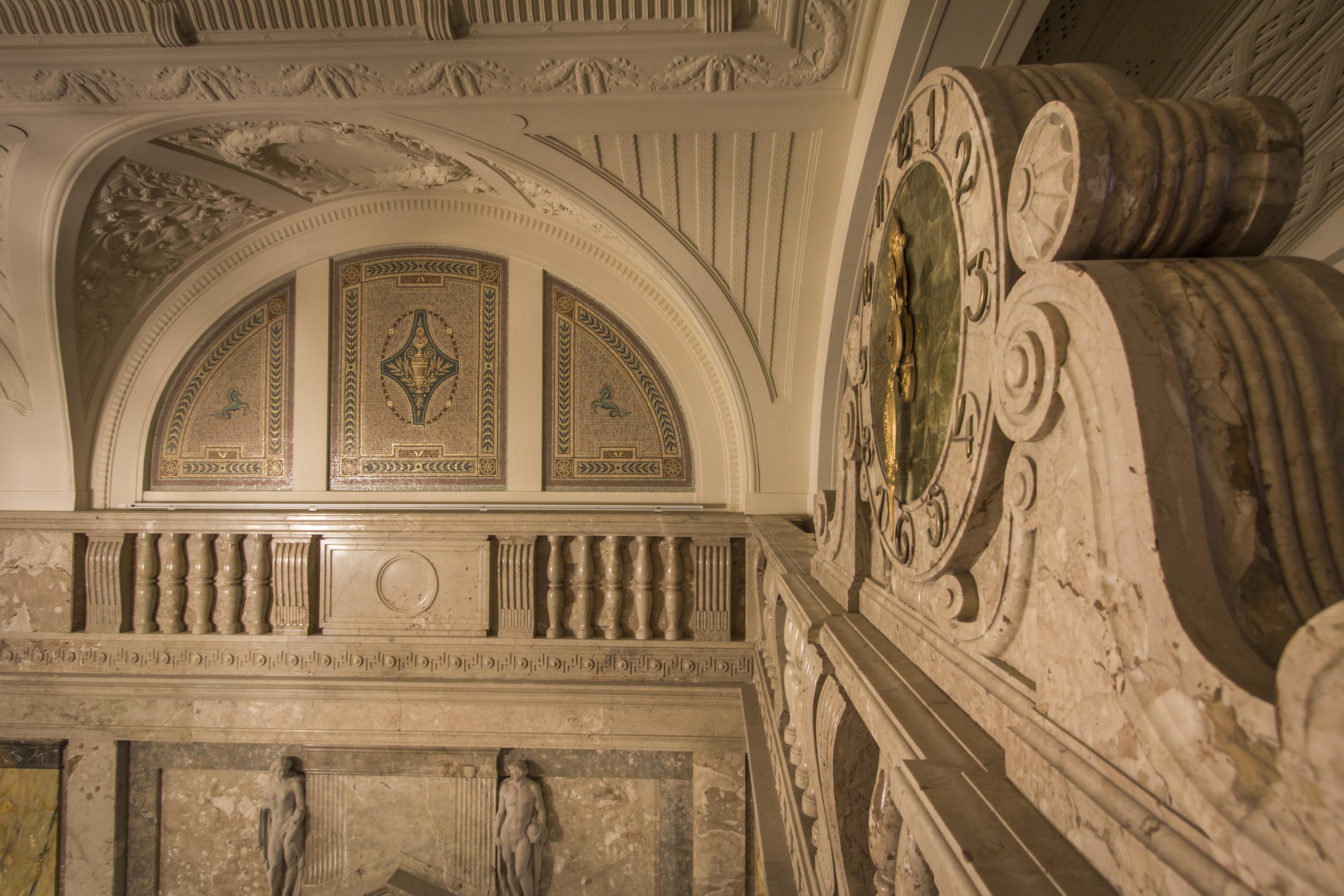 6._marble_clock_and_mosaics_heritage_interior_vaci1_budapest_hungary